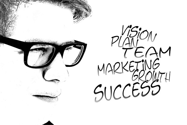man's face in black ink seeing vision plan team marketing growth success words of affirmation