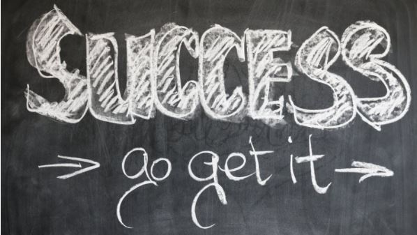 success go get it success formula words on a black board