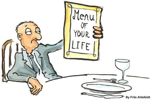 comic man holding menu of your life