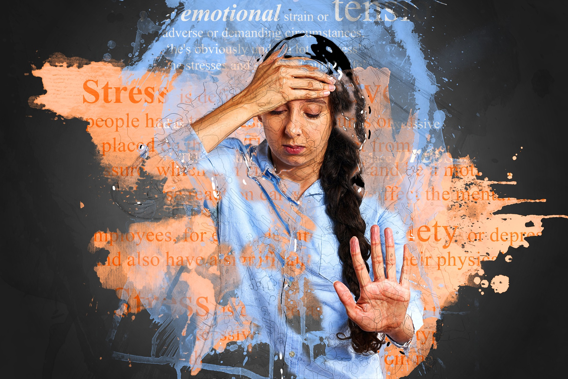 anxiety stress woman holding her forehead words of stress written around her