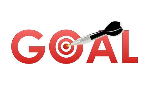 set financial goals dart in letter o of word goal