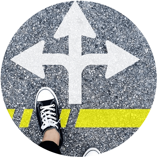 white directional arrow with a foot over a yellow line your subjective age